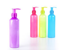 Multicoloured Lotion bottles Royalty Free Stock Images