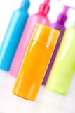Multicoloured Lotion bottles Royalty Free Stock Image