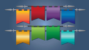 Multicoloured medieval flags Stock Photo