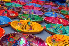 Multicoloured Mexican Sombrero Hat Ashtrays on Tepot. Multicoloured Traditional Mexican Sombrero Hat Ashtrays on Tepotzlan Market Stall royalty free stock image