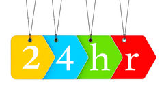 Multicoloured open or Service 24 hours Tags Royalty Free Stock Photography