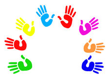 Multicoloured palm circle greeting Stock Photos