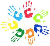 Multicoloured palm circle greeting. Raster illustration Multicoloured palm circle greeting Stock Image
