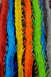Multicoloured Paper Cranes. Strings of Multicoloured Paper Cranes Hanging Down royalty free stock image