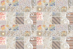 Multicoloured patterns tiles designs concept for home wall royalty free stock photo