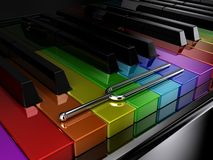 The multicoloured piano. Illustration of a silver tuning fork on a multicoloured piano Royalty Free Stock Photo