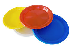 Multicoloured plastic dishes Stock Image