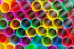 Multicoloured plastic drinking straws close up Royalty Free Stock Images