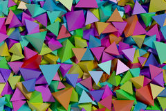 Multicoloured pyramids abstract background. Abstract background made with a lot of multicolored pyramids. wallpaper, 3d render, 3d illustration Stock Photos