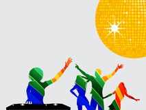 Multicoloured silhouette of dancers and DJ. Multicoloured Silhouettes of Female DJ with Records Deck and Dancing People Over Gray Background with Yellow Disco Stock Photo