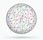 Multicoloured sphere of global digital connections, network Stock Image
