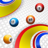 Multicoloured swirl and bingo balls. Bingo Balls Rolling between Multi Colors Swirls Over 3D White Background Stock Image