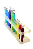 Multicoloured test tubes in the stand isolated Stock Photography