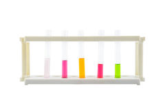 Multicoloured test tubes in the stand isolated on white. Background with clipping path Stock Photo