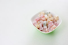 Multicoloured Turkish delight lukum with delicious Royalty Free Stock Photo