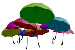 Multicoloured umbrellas background as seen from below Stock Photography