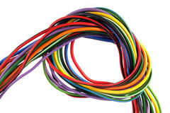 Multicoloured wire on a white background Stock Photo