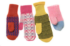 Multicoloured wool mittens Stock Photos
