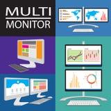 Multicomputermonitors Stock Foto