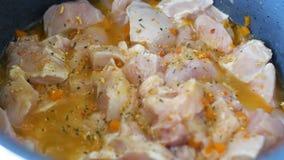 Multicooker kruidtoevoeging stukkenkip, wortel, ui, boter stock videobeelden