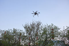 Multicopter está voando no céu azul Imagens de Stock