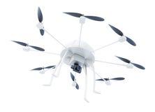 Multicopter met camera op witte achtergrond wordt geïsoleerd die 3D renderi Royalty-vrije Stock Fotografie