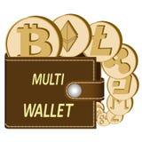 Multicrypto muntportefeuille met muntstukken royalty-vrije illustratie