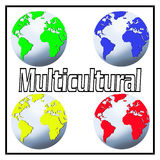 Multicultural. The word MULTICULTURAL between four world globes coloured red, blue, green and yellow conceptually indicating the differences between the world's vector illustration
