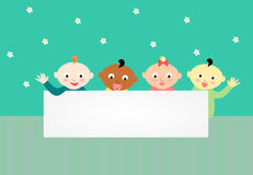 Multicultural baby banner. Multicultural mixed ethnic babies Royalty Free Stock Photography
