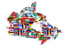 Multicultural Canadian Map. A multicultural, multi flag map silhouette of Canada. Land mass is filled with the flags from a variety of countries from around the Stock Photography