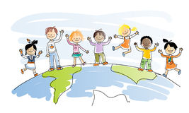Multicultural children. Happy kids of different ethnicity on top of the world, watercolor style, grouped and layered for easy editing Royalty Free Stock Image
