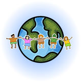 Multicultural children. Illustration of multicultural kids with globe in scribble  style Stock Photo
