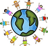 Multicultural children. Illustration of multicultural kids in scribble  style Stock Images