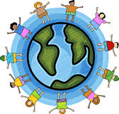 Multicultural children. Illustration of multicultural kids with circle blue background Stock Photography