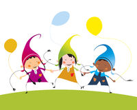 Multicultural children with balloons. Colorful joyful multicultural children with balloons friendly holding by hands Stock Photo