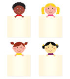 Multicultural children with blank banner. Four cute children with blank banners. Vector Illustration Stock Photography
