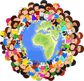 Multicultural Children Cartoon On Planet Earth Royalty Free Stock Photography