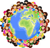 Multicultural children cartoon on planet earth Royalty Free Stock Photo