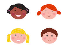 Multicultural children heads - isolated on white. Six multicultural children with blank banner. Vector Illustration Stock Photos