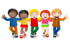 Multicultural children on isolate white Stock Images
