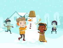Multicultural children making a snowman. Multicultural children playing snowball fight and making a snowman in the yard. Happy African-american, Asian Royalty Free Stock Photos