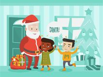 Multicultural children meeting Santa Claus. Multicultural children meeting Santa Claus with bag of Christmas gifts. Santa claus showing Christmas presents to Royalty Free Stock Photo