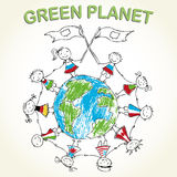 Multicultural children on planet earth. Multicultural children on green planet earth, vector illustration Royalty Free Stock Image
