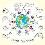 Multicultural children on planet earth. Vector illustration Royalty Free Stock Photo