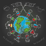 Multicultural children on planet earth. Vector illustration Stock Photos