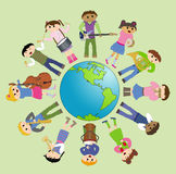 Multicultural children playing for peace. Illustration of multicultural children playing around the world for peace. Vector Stock Photography