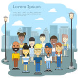 Multicultural city team. Business international people community in town vector illustration. Young students multiethnic on excursion to town Stock Photo