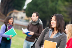 Multicultural College Students at Park Stock Photography