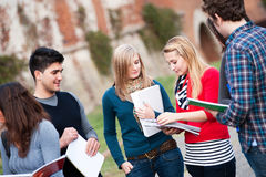 Multicultural College Students at Park stock photos