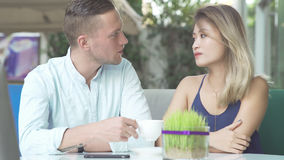 Multicultural couple on date. Royalty Free Stock Images